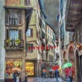 Walking in the Rain - Bergamo by Jeffrey Kolker