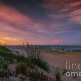 Walking The Beach At Sunset by Lois Bryan