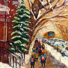 Snowy Montreal Winter Scene Painting Walking Towards School Bus Street Scene Grace Venditti Artist by Grace Venditti