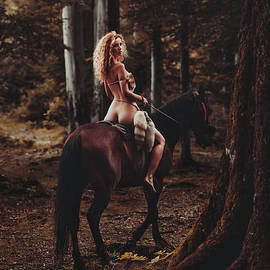 Wall Art print MXI31905 Half-naked young woman riding a horse in the forest by MaximImages Wall Art