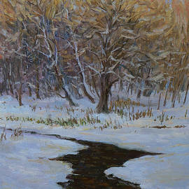 Warm Light. Original Winter Evening Oil Painting by Nikolay Dmitriev