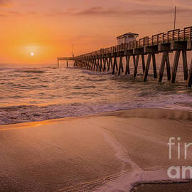 Warm Sunset At Venice Fishing Pier, Florida by Liesl Walsh