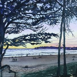 Watching the Sunset - Carmel Beach by Luisa Millicent