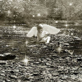 Water Angel - Black And White by Anthony Ellis
