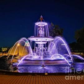 Water Fountain in the night by Louise Lavallee