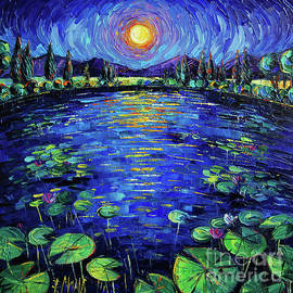 WATER LILIES MOONLIGHT commissioned palette knife oil painting Mona Edulesco by Mona Edulesco