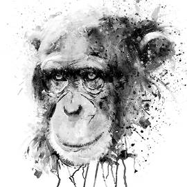 Watercolor Chimpanzee Black and White by Marian Voicu