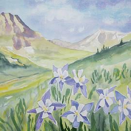 Watercolor - Handie's Peak Landscape with Blue Columbine by Cascade Colors