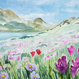 Watercolor - King Lake Summer Landscape by Cascade Colors