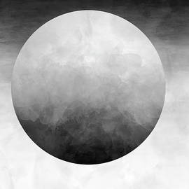 Watercolor Moon Abstract in Black and White