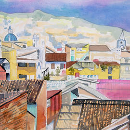 Watercolor - Old Town Quito Rooftops by Cascade Colors