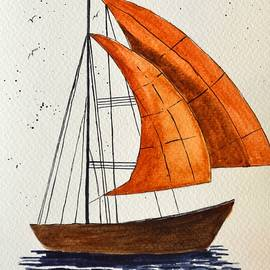 Watercolor Sail Boat by Sonali Gangane