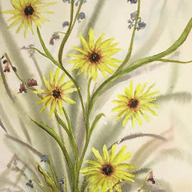 Watercolor Sunflowers and Blue Bells by Catherine Ludwig Donleycott