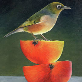 Wax Eye on Apples No.7 by Gee Lyon