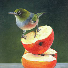 Wax Eye on Apples No.8 by Gee Lyon