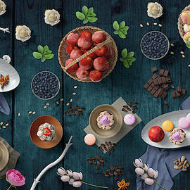Welcome To My Delicious Fruit Cupcake Chocolate And Blueberry Party by Johanna Hurmerinta