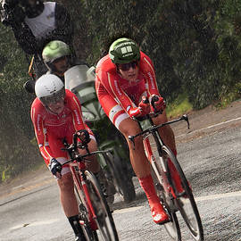 The wet  Danish time trial team by Clive Beake