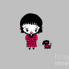 Whimsical Girl and her Pet Dog in Black and Red by Barefoot Bodeez Art