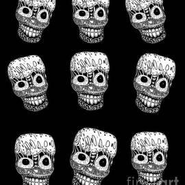 Whimsical Laughing Skulls Dia De Muertos   by Sarah Niebank