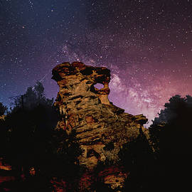 Whistling Rock shows starry night by Randall Branham