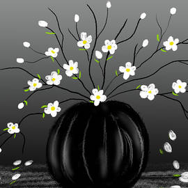 White Blossom in a Black Vase by Nishma Creations