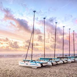 White Catamarans at Dawn by Debra and Dave Vanderlaan
