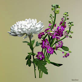 White Chrysanthemum and Purple Snapdragons by Susan Savad
