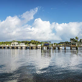 White Clouds and Blue Sky over the Boynton Inlet Marina by Debra and Dave Vanderlaan