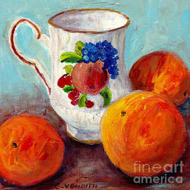 White Cup With Three Oranges Still Life Canadian Artist Grace Venditti by Grace Venditti
