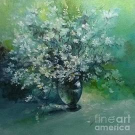 White flowers in a Glass Vase by Lizzy Forrester