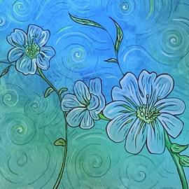 White Flowers in Blue  by Michell Rosenthal