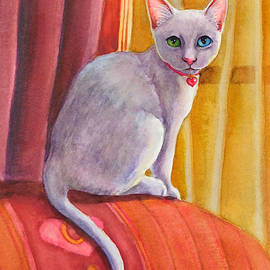 White Valentine Kitten on Sofa by Rachel Armington