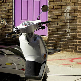 White Vespa and a Violet Door by Clay Cofer