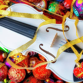 White Violin And Heart Ornament by Garry Gay