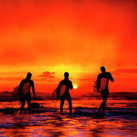 Widemouth Bay,  Surfers at sunset, Cornwall, UK by Maggie Mccall