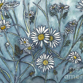 Wild Daisies in Ink and Watercolor by Conni Schaftenaar