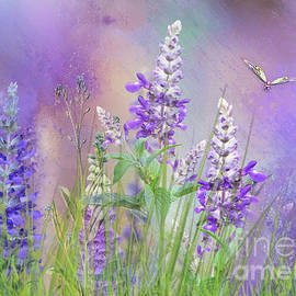 Wild Flowers with Butterfly by Morag Bates