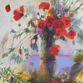Wild flowers with red poppies and a green apple painted by Vali Irina Ciobanu  by Vali Irina Ciobanu