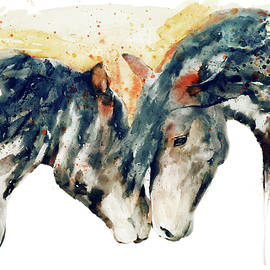 Wild Horses Watercolor Painting by Marian Voicu