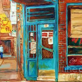 Wilensky Diner In Summer Famous Montreal Corner Store Landmark Street Scene Artist Carole Spandau by Carole Spandau
