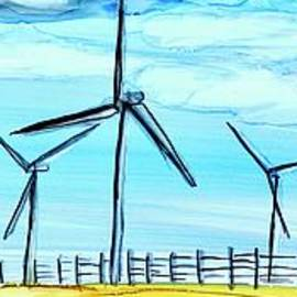 Wind Farm in Gold Field Painting wide version by Patty Donoghue