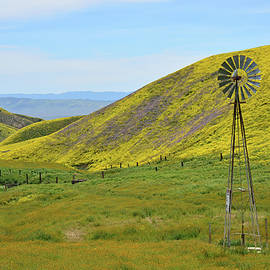Windmill and Golden Hills by Kathy Yates