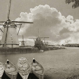 Windmills On Dutch Canal by R christopher Vest