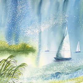 Watercolor Seascape ... Winds Up, Let's Sail by Catherine Ludwig Donleycott