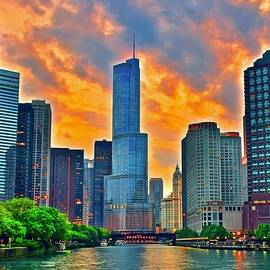 Windy City Fire in the Sky  by Frozen in Time Fine Art Photography