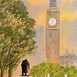Winston Churchill And Big Ben by Bill Holkham