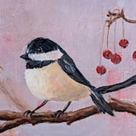 Winter Berry Chickadees by Emily Page