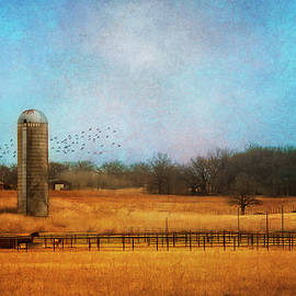 Winter Country Landscape With Silo by Ann Powell