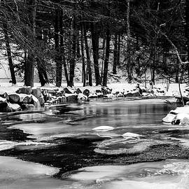 Winter Frozen River in BNW by Michael Saunders