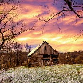 Winter Golds over the Barn by Debra and Dave Vanderlaan